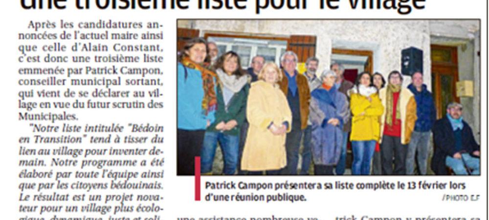 Bedoin en transition La Provence du 8 février