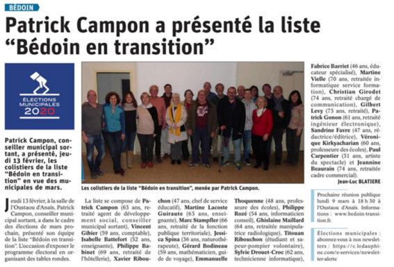 Bedoin en transition article Vaucluse matin du 10 février
